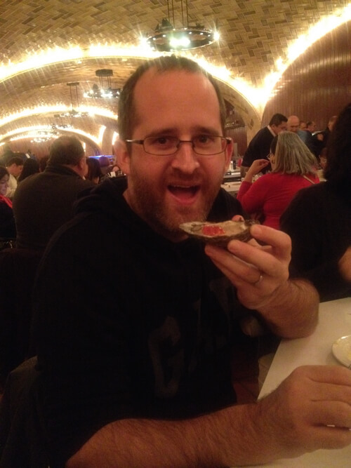 Eating oysters in Grand Central Station in New York